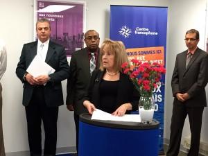 Discours de Madeleine Meilleur, ministre déléguée aux Affaires francophones de l'Ontario. (Crédit photo : Dominique Lelièvre)
