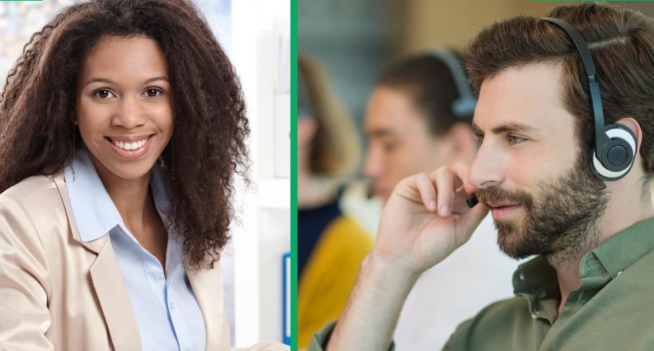 Il y a deux photos - à gauche, une femme d'origine africaine avec des cheveux noirs et une blouse blanche. À droite, un homme portant un chemise vert et des écouteurs.